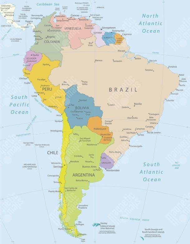 Magneticka Mapa Juznej Ameriky Politicka Farebna