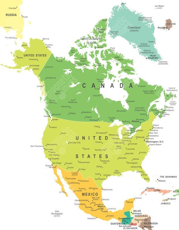 Magneticka Mapa Severnej Ameriky Politicka Farebna