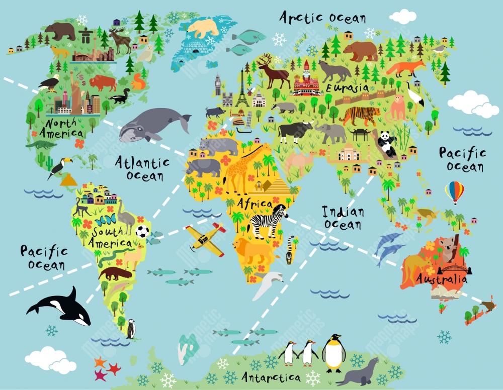 Magneticka Mapa Sveta Detska Zvierata