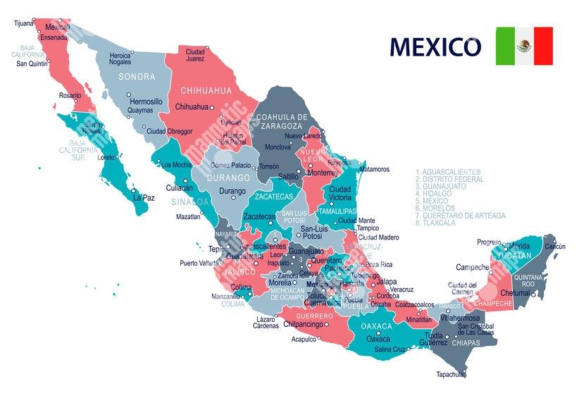 Magneticka Mapa Mexika Ilustrovana Farebna