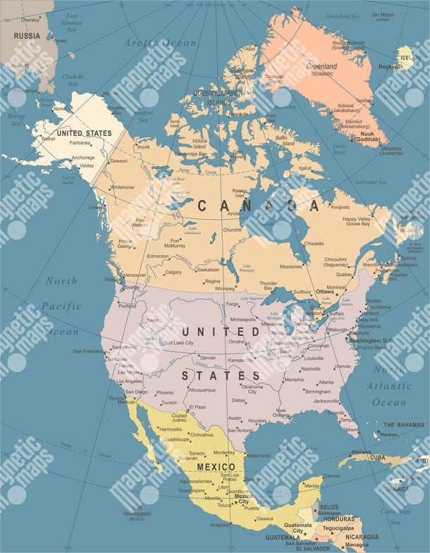 Magneticka Mapa Severnej Ameriky Ilustrovana Farebna